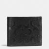 กระเป๋าสตางค์ผู้ชาย COACH COMPACT ID IN SIGNAURE CROSSGRAIN LEATHER F75371 : BLACK