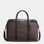 กระเป๋าผู้ชาย COACH PERRY SLIM BRIEF IN SIGNATURE F54803 สีน้ำตาล