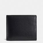 กระเป๋าสตางค์ผู้ชาย COACH COMPACT ID WALLET IN CROSSGRAIN LEATHER F59112 : BLACK