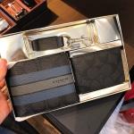 ชุดกระเป๋าสตางค์ผู้ชาย COACH BOXED 3-IN-1 WALLET IN VARSITY SIGNATURE COATED CANVAS F55485 BLACK/DENIM/GRAPHITE