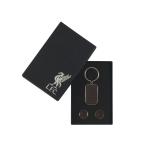 คัฟลิงค์ที่ระลึกลิเวอร์พูล ของแท้ 100% Liverpool FC Embroidered Leather Cufflink & Keyring Set