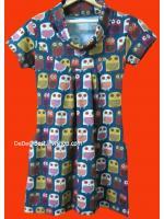 ขายแล้วค่ะ D11:2nd hand dress เดรสวินเทจผ้าวูลนิ่ม ลายนกฮูกเล็กๆน่ารัก&#x2764