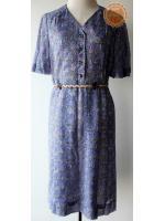 D31:Vintage dress เดรสวินเทจสีม่วงอ่อน ลายกราฟฟิค