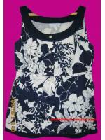 แถมให้คุณภัทรานิษฐ์ค่ะ T11:Vintage top เสื้อแขนกุดโทนน้ำเงินขาวลายดอกไม้หวาน ๆ&#x2764
