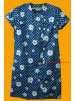 ขายแล้วค่ะ D15:Vintage dress เดรสวินเทจผ้าเหลือบมันสีน้ำเงินลายจุดฟ้าและดอกไม้สีขาว&#x2764