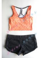 Sale bw45 พร้อมส่ง Size S,M เสื้อกล้ามตัวสั้นลายจุด (ส้ม,กรมท่า) ด้านหน้ามีซับใน ด้านหลังเป็นซีทรู