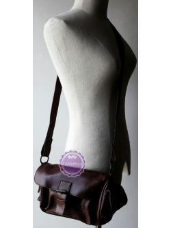 B50:2nd hand bag กระเป๋าสะพายหนังสีน้ำตาล ถอดสายเปลี่ยนได้ มีสายสั้นและสายยาว