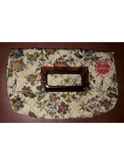 B55: Vintage clutch bag กระเป๋าถือผ้าทอลายดอกไม้ ปรับเป็นกระเป๋าคลัทช์ได้