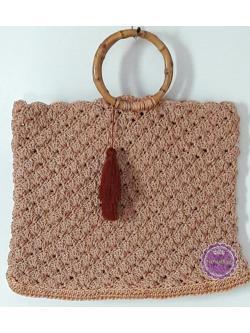 B67:Handmade bag กระเป๋าถักเชือกร่มสีชมพูอ่อนอมส้มดิ้นทอง หูกระเป๋าหวาย แต่งพู่ สินค้าใหม่ค่ะ