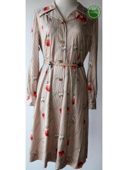 D67:Vintage dress เดรสวินเทจแขนยาวสีครีมลายนก (มีซับใน)