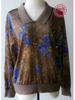 T65:Vintage top เสื้อวินเทจสีน้ำตาล ลายดอกไม้สีน้ำเงินและลายกราฟฟิคสีทอง