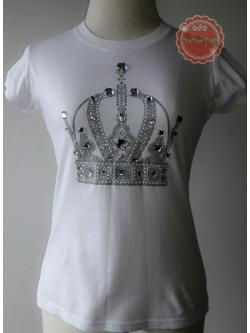 T116:2nd hand top เสื้อยืดสีขาวสกรีนลายและปักเลื่อมเป็นรูปมงกุฏ