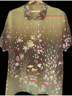 ขายแล้วค่ะ T3:Vintage top เสื้อวินเทจ ลายดอกไม้โทนสีสวยค่ะ&#x2764