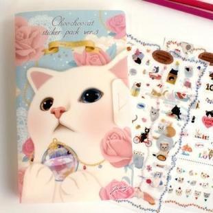 Choo Choo Cat Sticker Pack Diary Deco สติ๊กเกอร์ตกแต่ง 8 แผ่น