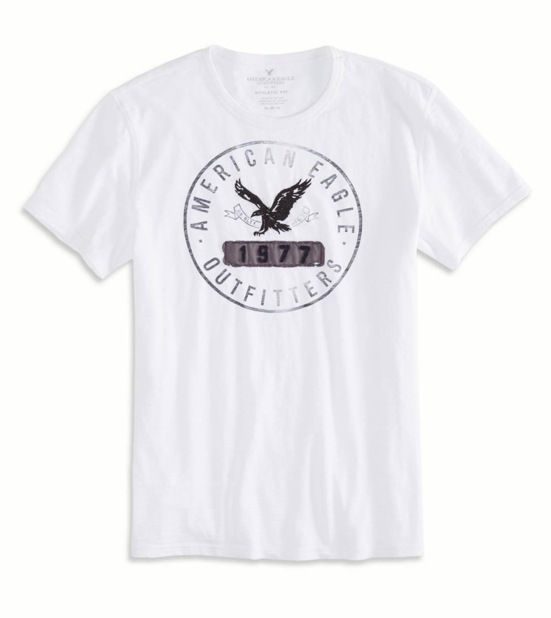 เสื้อยืดแฟนชั่นผู้ชาย American Eagle APPLIQUE GRAPHIC T-SHIRT – WHITE