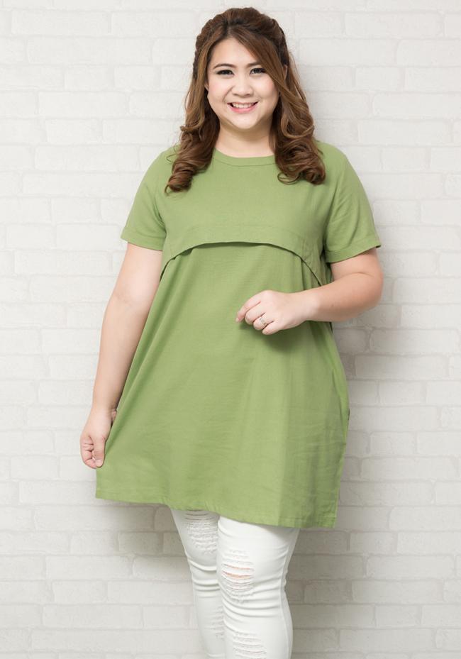 เสื้อตัวยาว/มินิเดรสคอกลมแขนสั้นสีเขียว