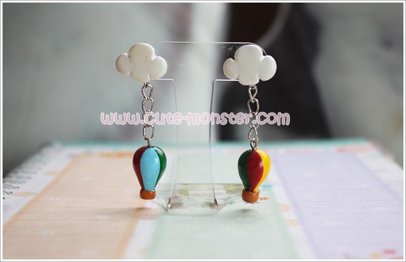 ต่างหูดินปั้น บอลลูน Little balloon Earrings