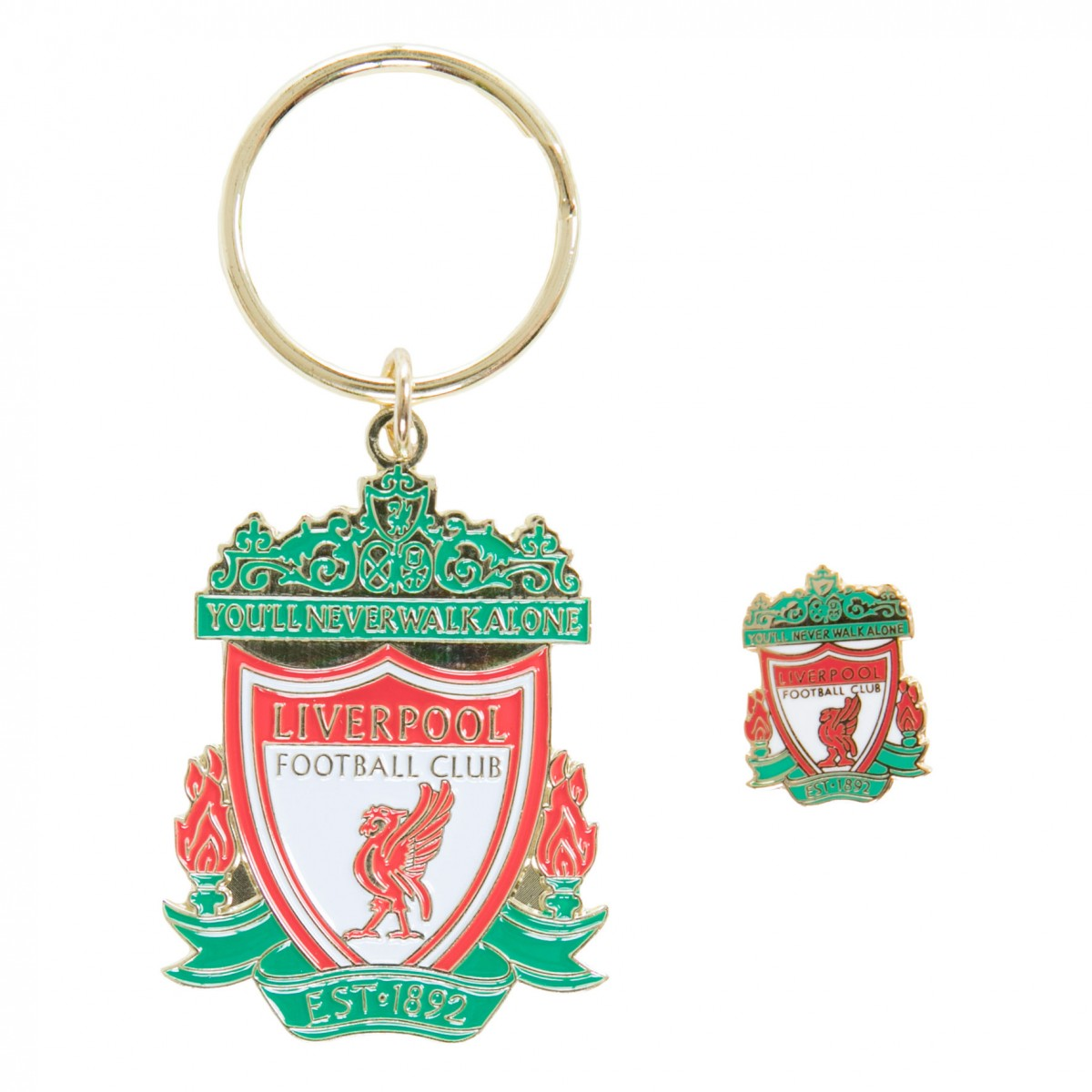 พวงกุญแจเข็มกลัดที่ระลึกลิเวอร์พูล Colour Crest Badge & Keyring Set ของแท้