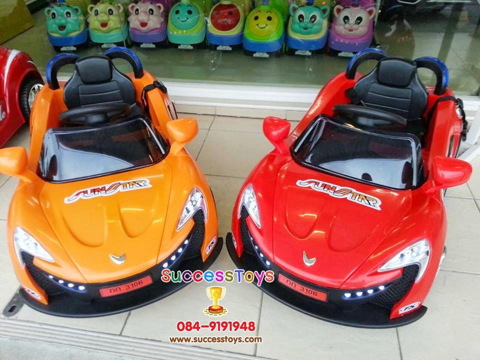 รถแบตเตอรี่เด็กนั่งไฟฟ้า รุ่น HL3106 ยี่ห้อแมคคาเรน มี 3 สี แดง เหลือง ส้ม