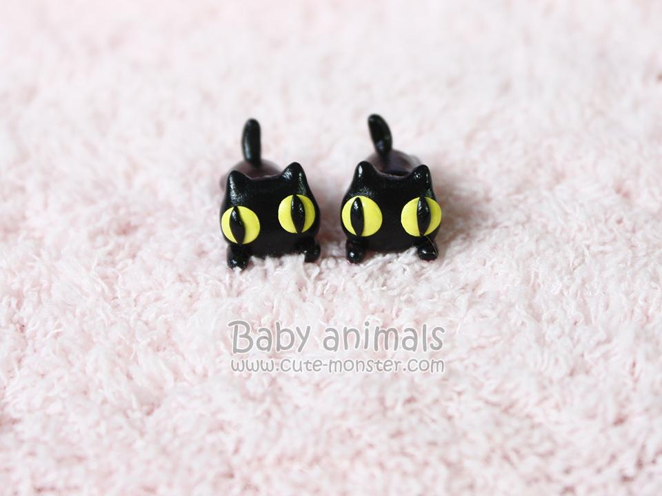 ต่างหูดินปั้นแมวดำ Baby black cat