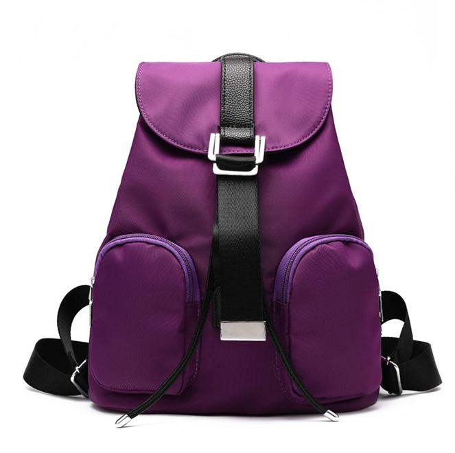 [ ลดราคา ] กระเป๋าเป้แฟชั่น นำเข้าสไตล์เกาหลี สีม่วงสุดฮิต ใบกลางสะพายหลัง ดีไซน์สวยเก๋ ผ้าร่มคุณภาพน้ำหนักเบา พกพาสะดวก เท่ๆ
