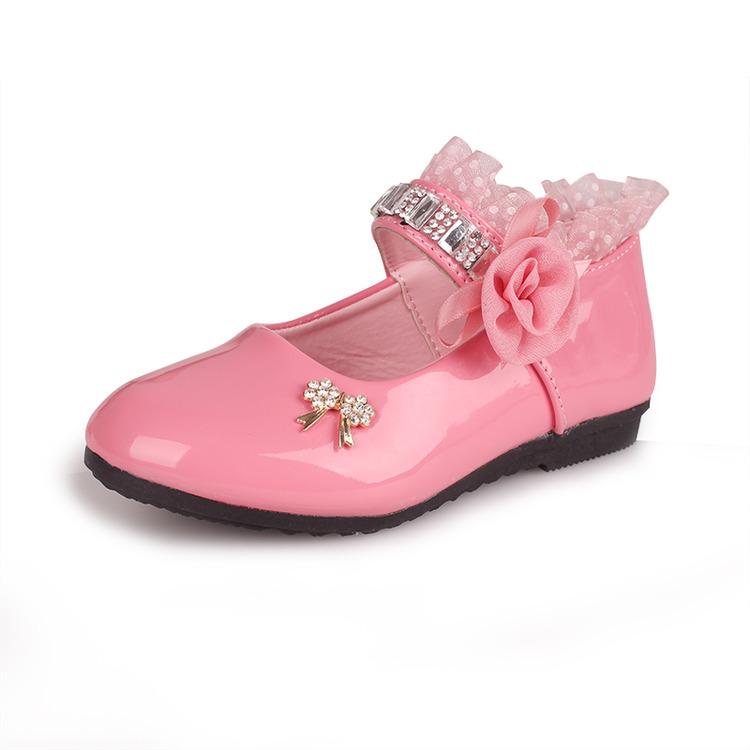 รองเท้าคัชชูเด็กหญิง หนังแก้วสีชมพู สายเพชร สวยหรู Size 26-30