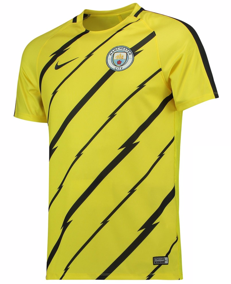 เสื้อทีเชิ้ตแมนเชสเตอร์ ซิตี้ของแท้ Manchester City Squad Pre Match Top Yellow