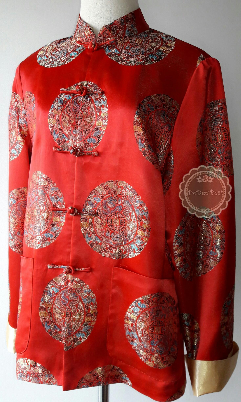 T127:Vintage top เสื้อสีแดง แขนยาว ปักลายมังกร สวยและสภาพดีมากค่ะ (ซับในทั้งตัว)