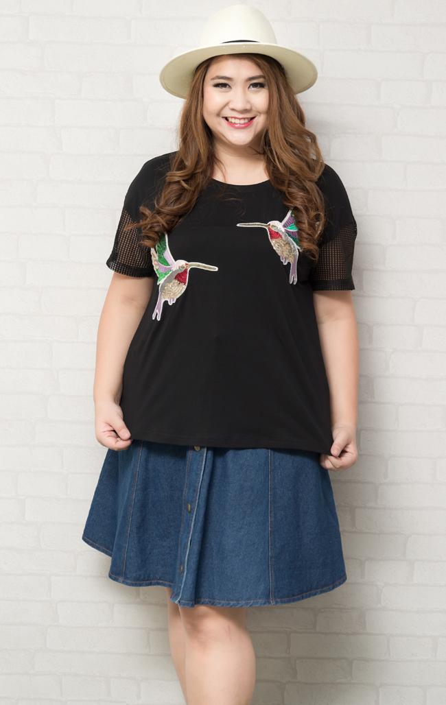 เสื้อผ้าไซส์ใหญ่แขนสั้นผ้ายืดสีดำแต่งลายรูปนกปักเลื่อม