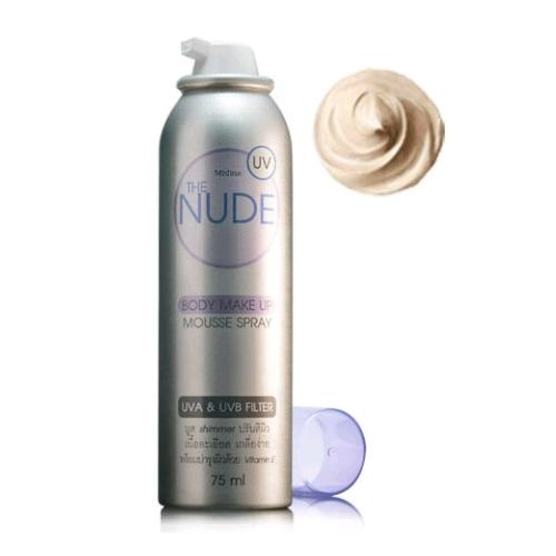 *พร้อมส่ง* Mistine THE NUDE Body Make Up Mousse Spray สเปรย์มูสรองพื้นผิวกาย ปรับสีผิวเนียนแบบเร่งด่วน กันแดด กันน้ำ กันเหงื่อ ติดทน