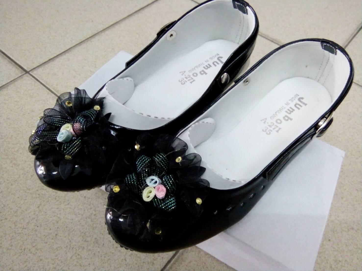 รองเท้าคัทชูหญิงสีดำ มีสายรัดหมุนเก็บได้ ไซส์ 25-34