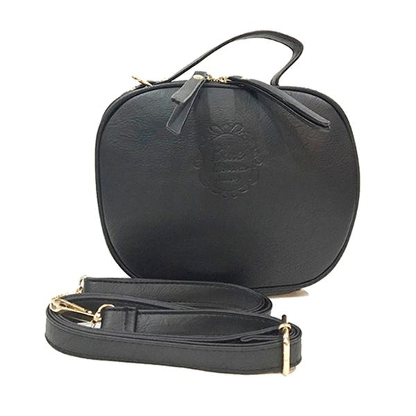 [ ลดราคา ] - กระเป๋าแฟชั่น ถือ&สะพาย สีดำ ทรงกลมโค้ง ไซส์กลางๆ งานหนังคุณภาพ มีสายสะพายยาวปรับระดับได้ค่ะ