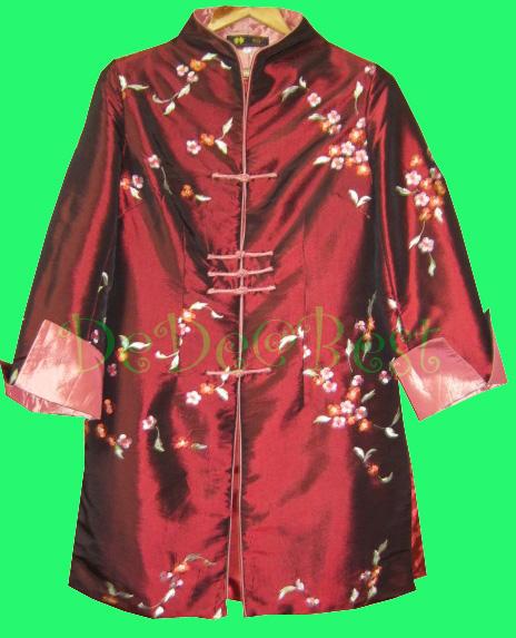 ขายแล้วค่ะ D45:Vintage dress เดรสวินเทจผ้าไหมสีแดงเลือดนก ปักลายดอกไม้&#x2764
