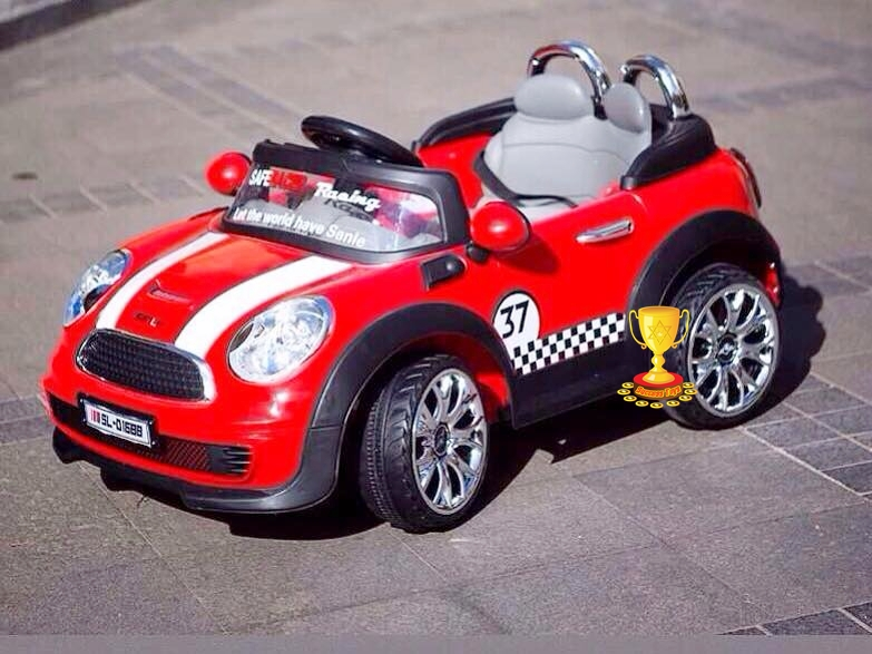 รถแบตเตอรี่เด็กนั่งไฟฟ้า รุ่น SL3097 ยี่ห้อมินิคูเปอร์ มี 4 สี ชมพู ครีม ฟ้า แดง