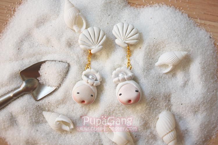 ต่างหูดินปั้น Pupa gang: Seashell