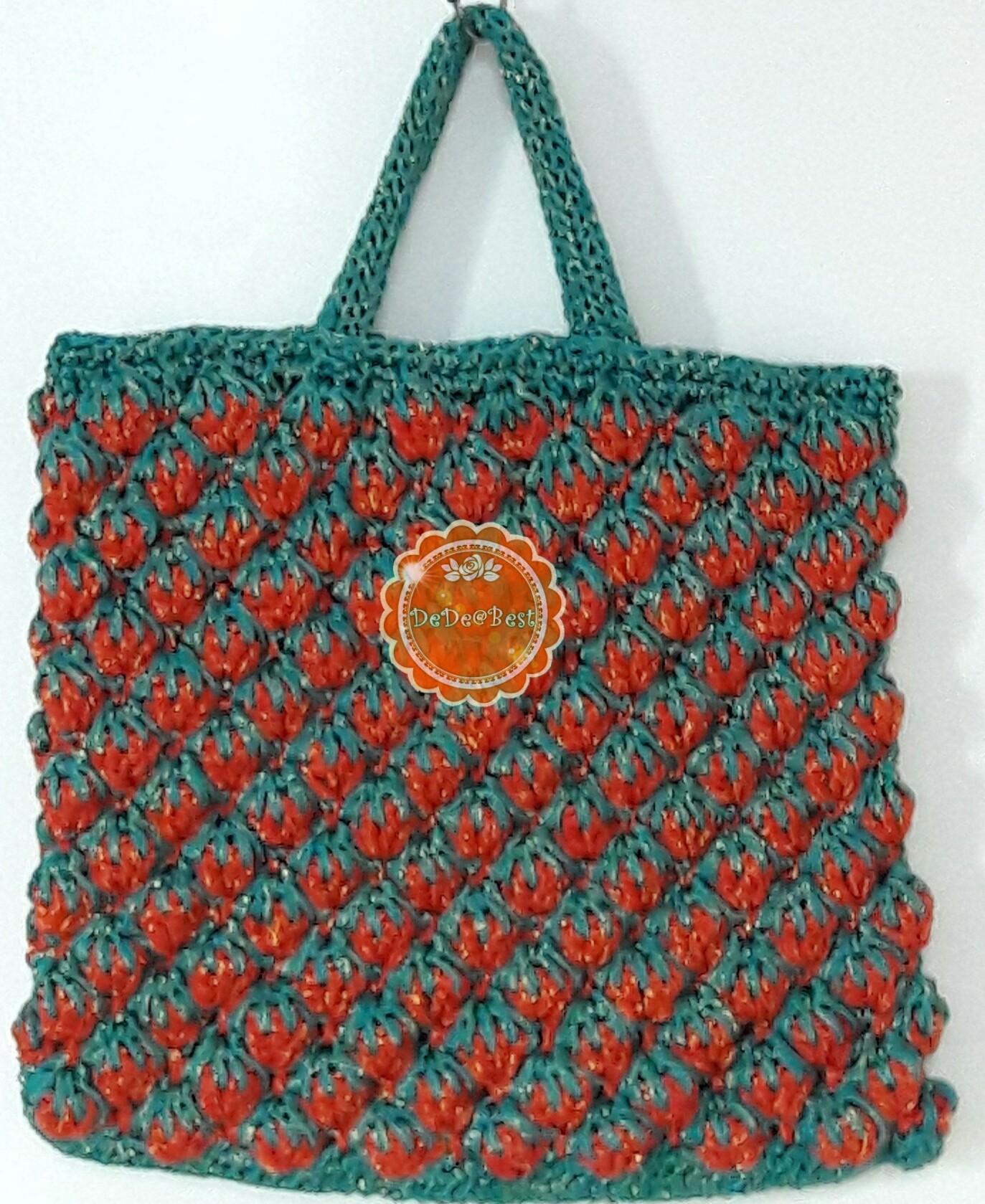 หมดค่ะ B68:Handmade bag กระเป๋าถักเชือกร่มดิ้นทอง สตอเบอรี่สีแดง+สีเขียว สินค้าใหม่ค่ะ❤
