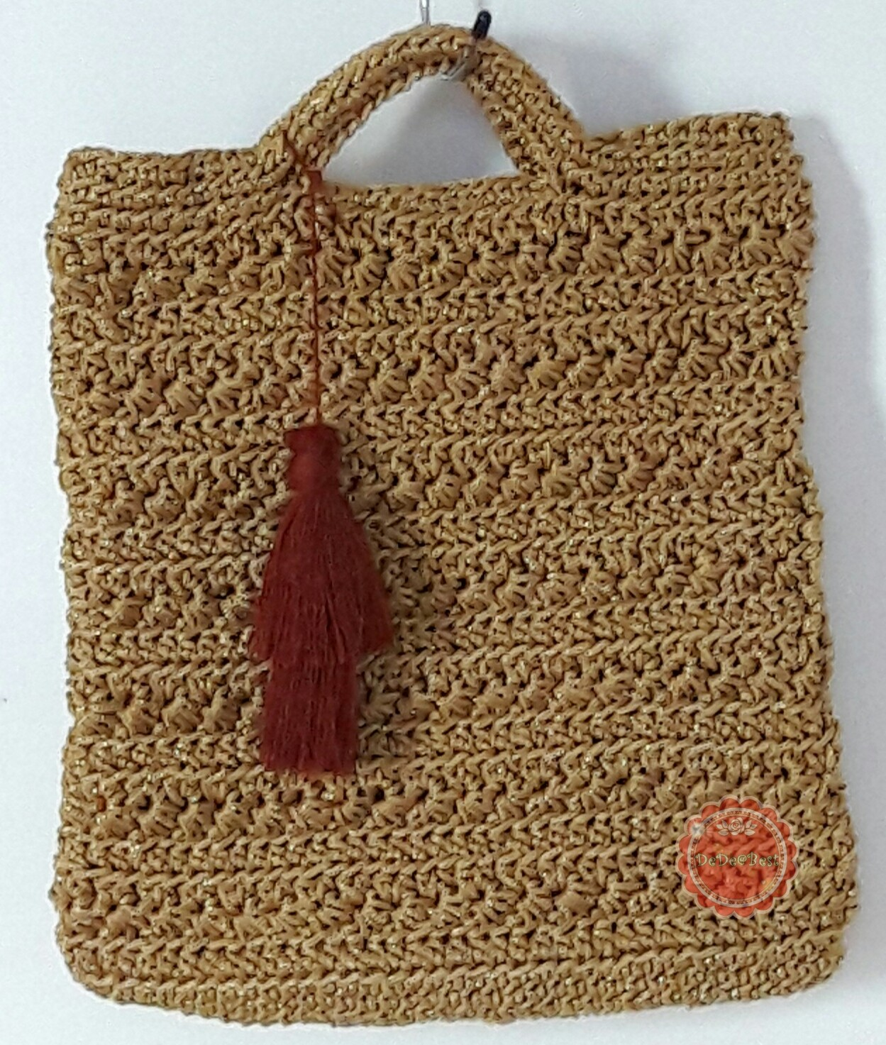 หมดค่ะ B66:Handmade bag กระเป๋าถือถักด้วยเชือกร่มสีทองดิ้นทอง แต่งพู่ สินค้าใหม่ค่ะ❤
