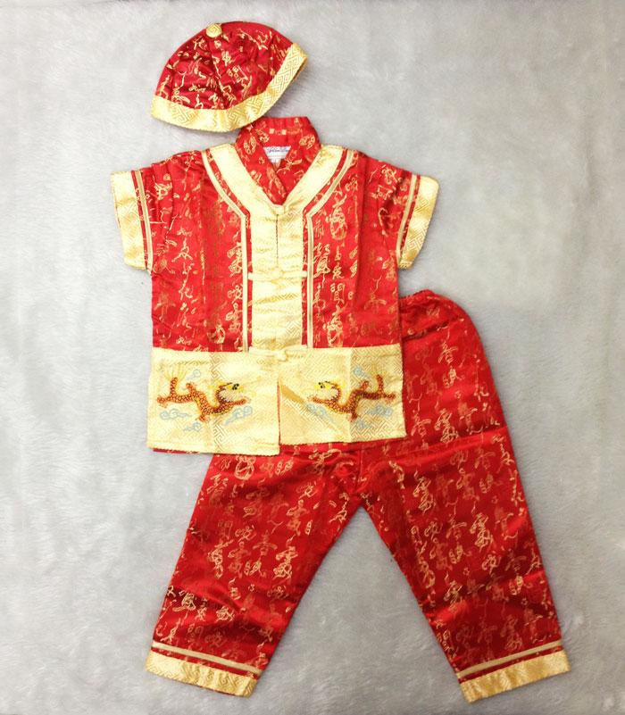 ชุดตรุษจีนเด็กชาย อาตี๋น้อย ชุดขายาว มีหมวก Size 2,4,6