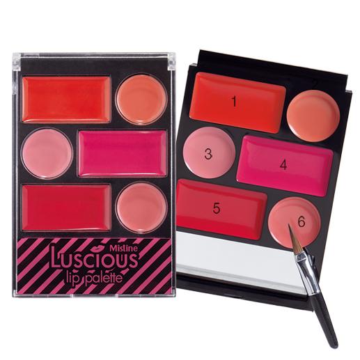 Mistine Luscious Lip Palette ลิปพาเลท เนื้อเจล มีกระจกและพู่กันในตัว 1 ตลับ ผสมเปลี่ยนสีปากได้ถึง 30 เฉดสี
