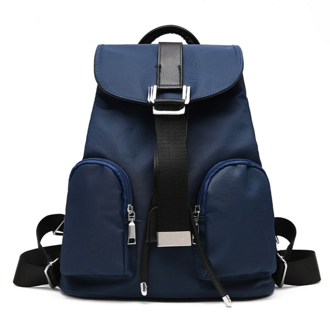 [ ลดราคา ] - กระเป๋าเป้แฟชั่น นำเข้าสไตล์เกาหลี สีน้ำเงินเข้ม ใบกลางสะพายหลัง ดีไซน์สวยเก๋ ผ้าร่มคุณภาพน้ำหนักเบา พกพาสะดวก เท่ๆ