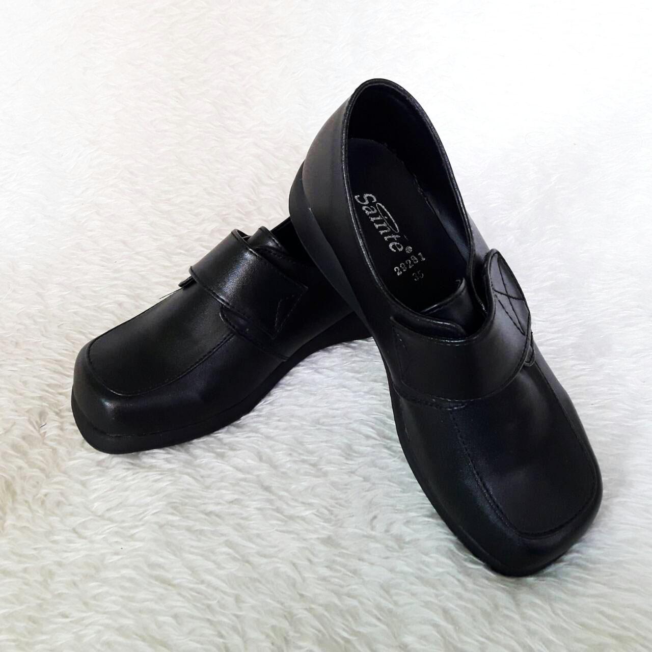 Sainte รองเท้าเด็กสีดำ เทปเมจิก หน้าตัดเก๋ๆ