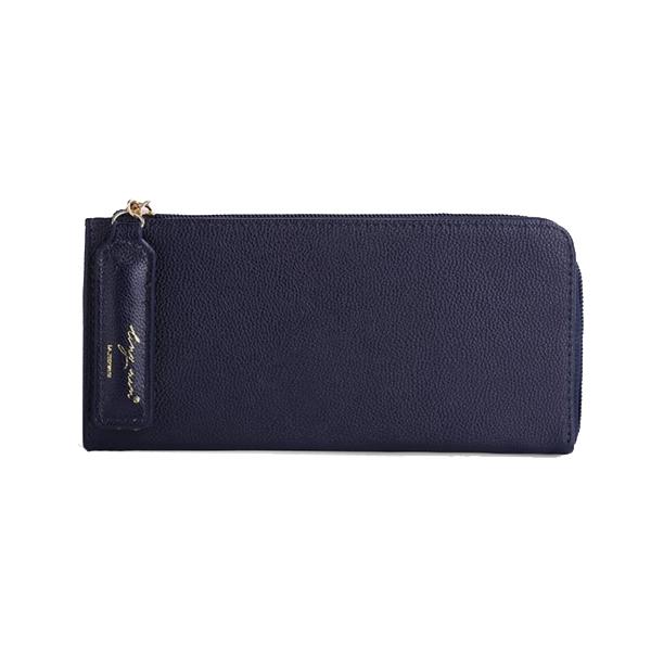 [ พร้อมส่ง ] - กระเป๋าสตางค์แฟชั่น สีกรมท่า ซิปรอบปิดตัว L ใบยาว ดีไซน์สวยคลาสสิค ช่องเยอะ งานสวย น่าใช้มากๆค่ะ