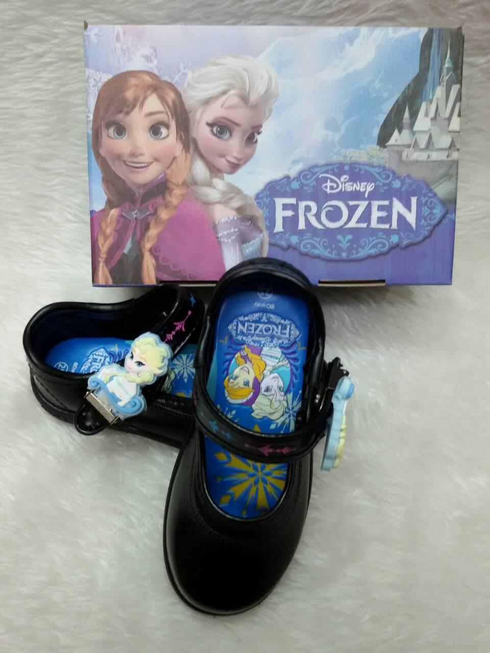 รองเท้านักเรียนเด็กหญิงอนุบาล Frozen แบบแม่เหล็ก เบอร์ 24-33