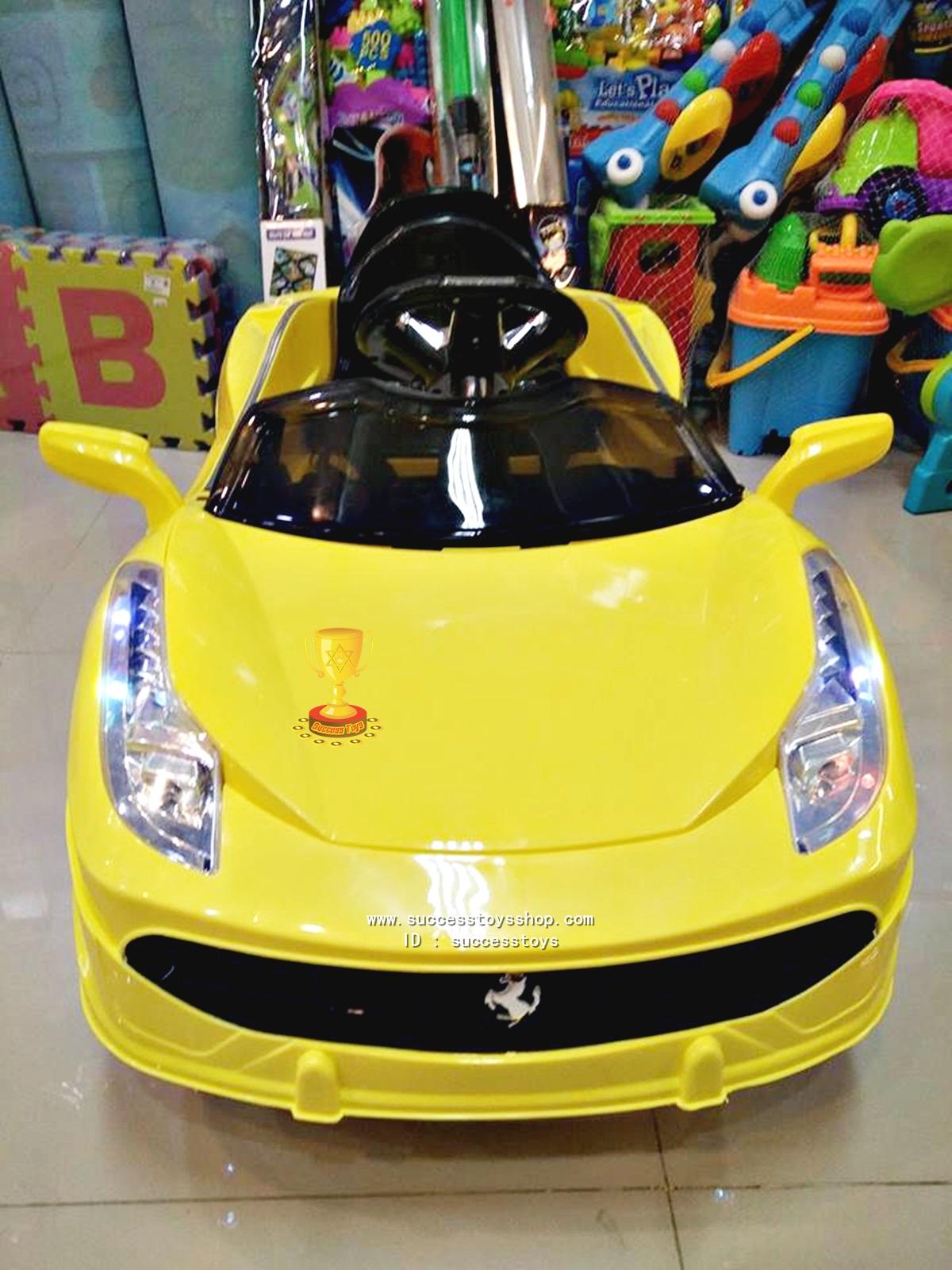 รถแบตเตอรี่เด็กนั่ง รุ่น 3165 ยี่ห้อเฟอรารี่รุ่นใหม่สีเหลือง