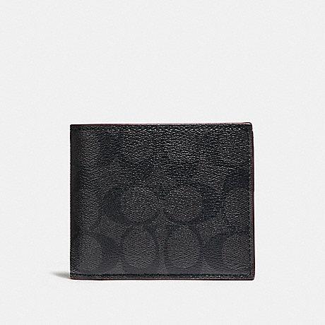 กระเป๋าสตางค์ผู้ชาย COACH COMPACT ID WALLET IN SIGNAURE F25519 : BLACK//OXBLOOD