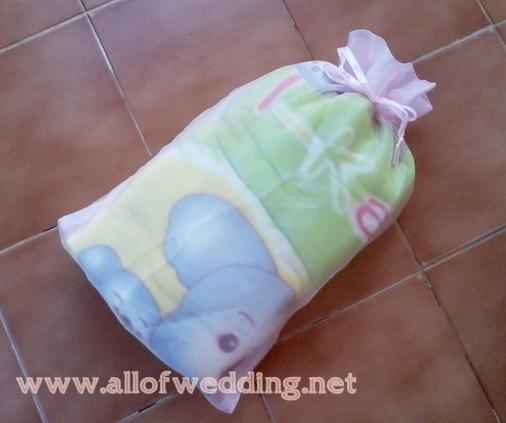 ผ้าห่มสำลีพร้อมถุงผ้าไหมแก้ว