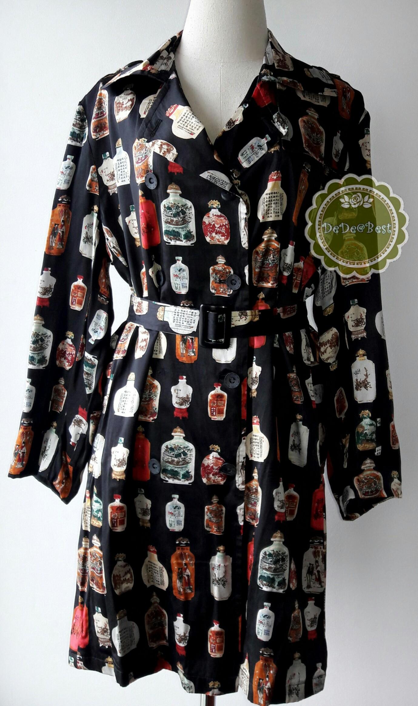 D52:Vintage dress เดรสวินเทจสีดำลายขวดจีนโบราณ(ซับในทั้งตัวและมีเข็มขัด)