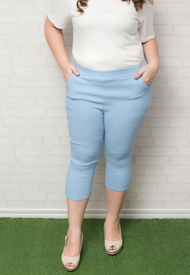 กางเกงสกินนี่ขาห้าส่วนสีฟ้า