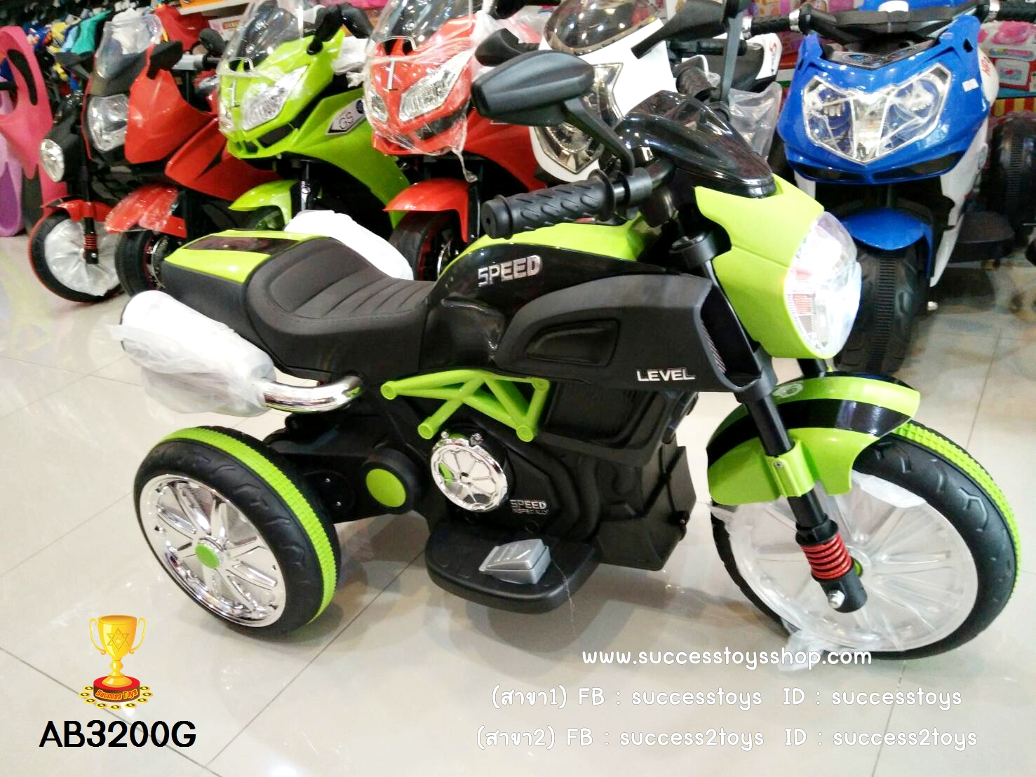 AB3200G รถมอเตร์ไซค์ไฟฟ้าเด็กนั่งสีเขียว