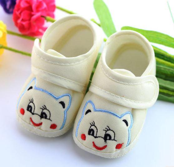 รองเท้าเด็กอ่อน ลายหมีน้อย สีเหลือง Size 11-13